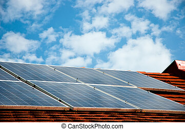 gebouw, energie, dak, zonne, panelen, cellen