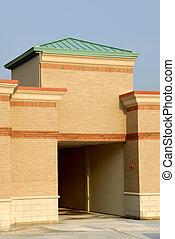 gebouw, entra, commercieel