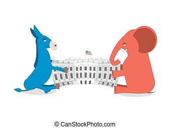 gebouw, ezel, delen, regering, aandeel, republikeinen, house., verkiezingen, authority., democraten, elefant, witte , amerika, politiek, presidentieel, usa.