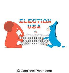 gebouw, ezel, verenigd, delen, regering, house., states., aandeel, verkiezingen, authority., democraten, elefant, republikeinen, amerika, politiek, witte , presidentieel