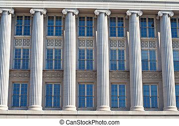gebouw, federaal, vensters, washington dc, kolommen