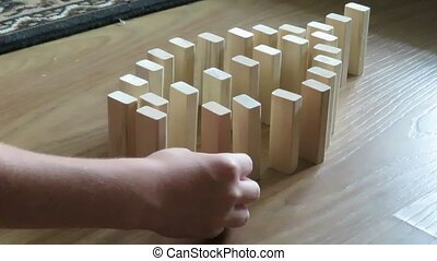 gebouw, fish., houten, domino, hand, witte