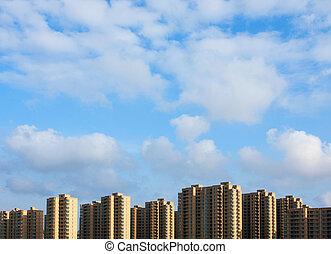 gebouw, flat, gebied, woongebied, china, nieuw