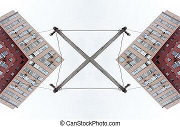 gebouw, flat, vensters, model, moderne, -, abstrac, achtergrond
