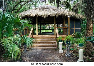gebouw, florida, hut, park, tiki