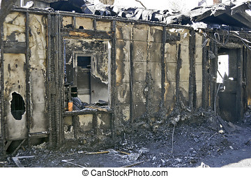 gebouw, gebrande