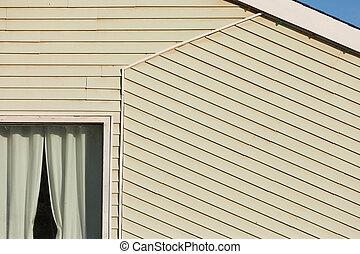 gebouw, gekleed, architectuur, facade, abstract, hout