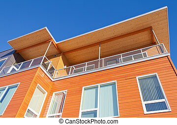 gebouw, gekleed, detail, helder, buitenkant, rijhuis, hout