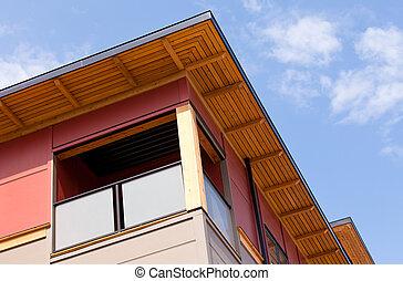 gebouw, gekleed, moderne, detail, hout, buitenkant, rijhuis
