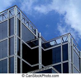 gebouw, glas, black
