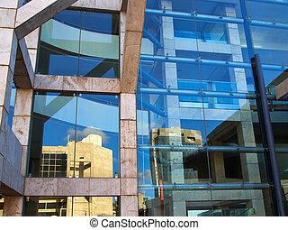 gebouw, glas, gekleed, moderne, facade