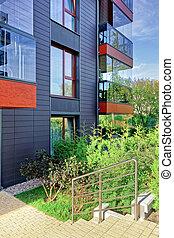 gebouw, glas, moderne, detail, woongebied
