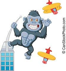 gebouw, gorilla, spotprent, boven