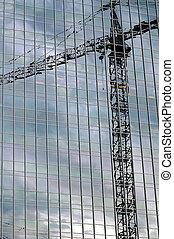 gebouw, groot, constructio