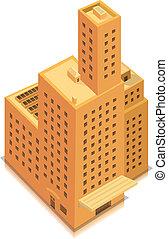 gebouw, groot, isometric, zakelijk