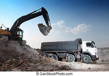 gebouw, groot, materiaal, inlading, vrachtwagen