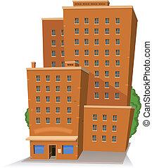 gebouw, groot, spotprent