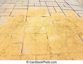 gebouw, groot, zand, de arbeider van de bouw