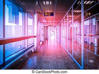 gebouw, hallway, glas