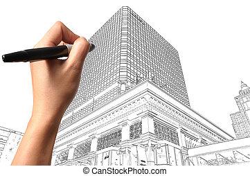 gebouw, hand, architect plan, cityscape, mannelijke , tekening
