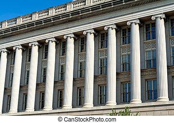 gebouw, handel, washington dc, facade, kolommen, roeien