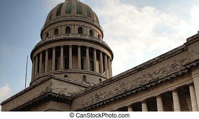 gebouw, havanna, capitool, centrum, timelapse, cuba