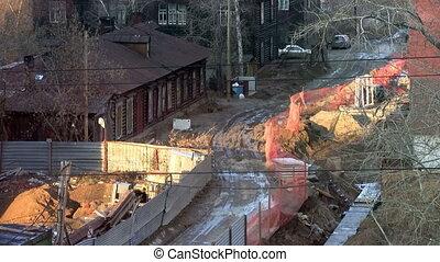 gebouw, het construeren, plaats., bouwsector, dorp, werken