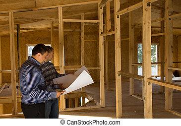 gebouw, het kijken, architecten, bouwschets