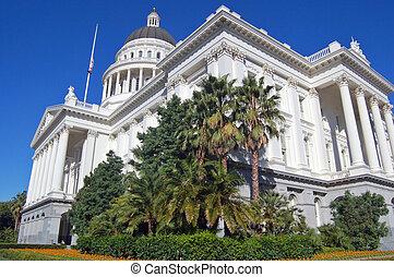 gebouw, hoek, californië, capitool, aanzicht