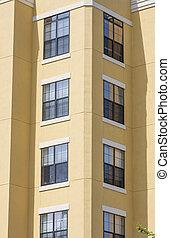 gebouw, hoek, rijhuis, stucco, gele