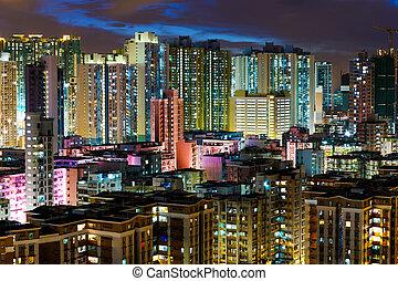 gebouw, hong, flat, kong, nacht