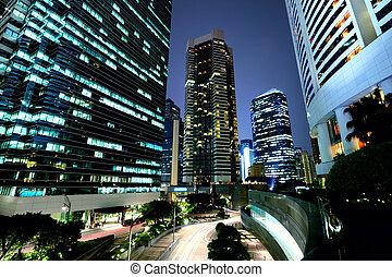 gebouw, hong kong, collectief, nacht