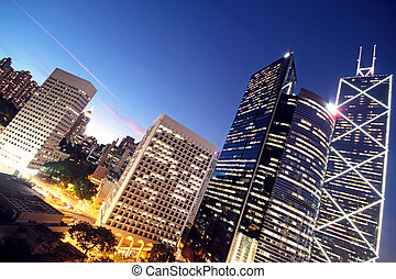 gebouw, hong kong, kantoor, nacht