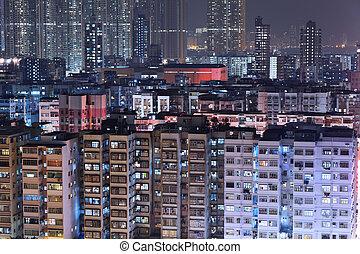 gebouw, hong kong, nacht