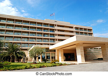 gebouw, hotel, halkidiki, luxe, griekenland