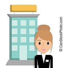 gebouw, hotel, ontwerp, receptionist