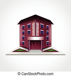 gebouw, hotel, vrijstaand, vector