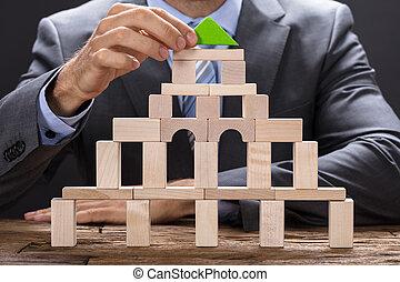 gebouw, houten, zakenman, blokjes, vervaardiging
