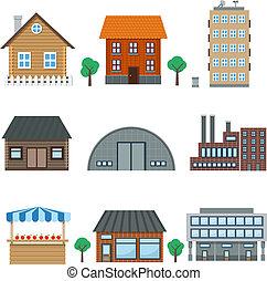 gebouw, iconen