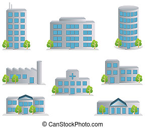 gebouw, iconen, set