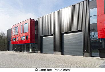 gebouw, industriebedrijven, moderne