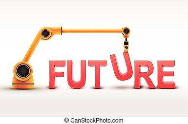 gebouw, industriebedrijven, woord, toekomst, robotic wapenen