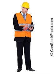 gebouw, inspecteur, bouwterrein, inspecteren