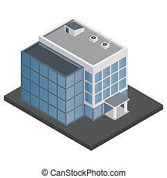 gebouw, isometric, kantoor