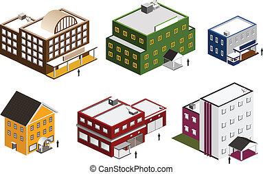gebouw, isometric, set