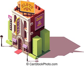 gebouw, isometric, vector, casino
