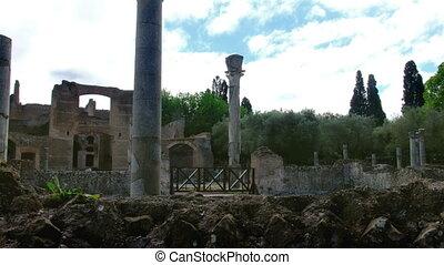 gebouw, italië, exedras, lazio, -, drie, bouwterrein,...
