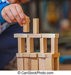 gebouw, jongen, constuction, houten, het putten, blok