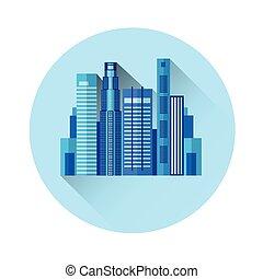 gebouw, kantoor, buitenkant, kleurrijke, pictogram