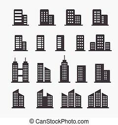 gebouw, kantoor, pictogram